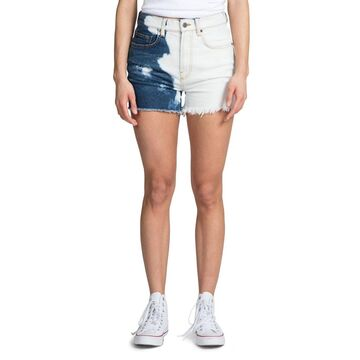 Bleached High-Rise Distressed Denim Shorts