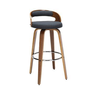 """30"""" Low Back Bentwood Frame Mid-Century Modern Swivel Seat Barstool with Fabric Back and Cushion - OFM"""