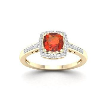 Imperial Gemstone 10K Yellow Gold Madeira Citrine 1/8 CT TW Diamond Halo Ring