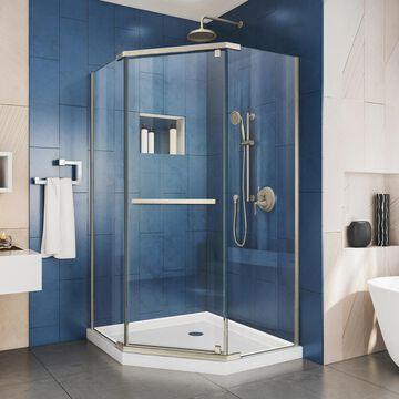 DreamLine Prism 72-in H x 34-1/8-in W Frameless Pivot Brushed Nickel Shower Door (Clear Glass) Stainless Steel | SHEN-2134340-04