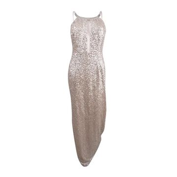 Aidan Mattox Women's Sequin Halter Necklace Gown - Champagne/Silver
