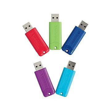 Verbatim PinStripe 64GB USB 3.0 Flash Drives, 5/Pack (70389)