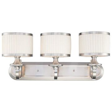 Nuvo Lighting 60/4733 Candice 3 Light Bathroom Fixture with Pleated White Shades