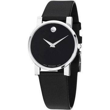 Movado Men's 0604230 'Museum' Black Leather Watch