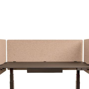 Offex Classroom Library Office Desk Mounted Partition Divider 3 Piece Desktop Privacy Panel Desert Sand - 60