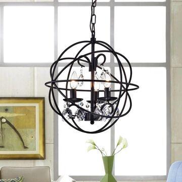 Warehouse of Tiffany Lijane 3-light Crystal Black Metal Hoop Globe Pendant