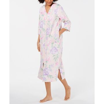 Printed Cotton Sateen Long Zip Robe