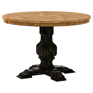 South Hill Round Pedestal Base Dining Table - Antique - Inspire Q