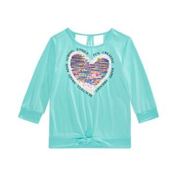 Beautees Big Girls Flip Sequin Heart Top