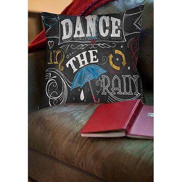 Thumbprintz Chalkboard Dance in the Rain Indoor Pillow