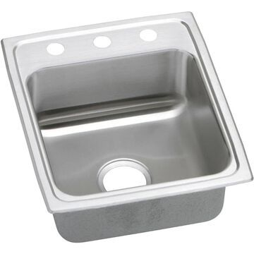 Elkay Pacemaker Drop-In 17-in x 20-in Brilliant Satin Single Bowl 3-Hole Kitchen Sink Stainless Steel   PSR17203