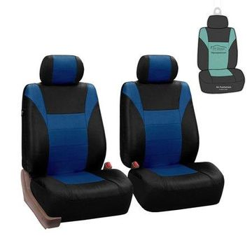 FH Group Racing Faux Leather Airbag Compatible Car Front Set Seat Covers, with bonus Air Freshener