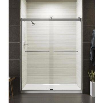 KOHLER Levity 74-in H x 56.625-in to 59.625-in W Frameless Sliding Bright Silver Shower Door (Clear Glass) | 706015-L-SH