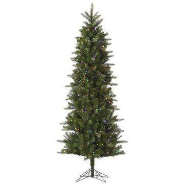 Vickerman 7.5' Carolina Pencil Spruce Artificial Christmas Tree with 450 Multi-Colored LED Lights