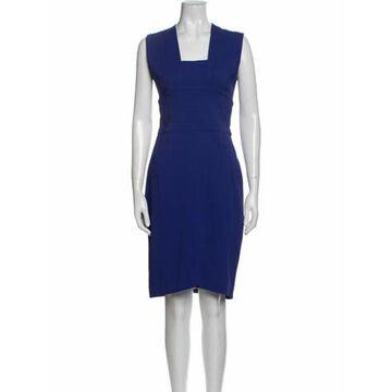 Square Neckline Knee-Length Dress Blue