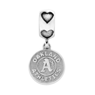 LogoArt Oakland Athletics Sterling Silver Team Logo Charm, Women's, Grey