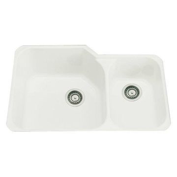 Rohl 33in Double Basin Undermount Fireclay Kitchen Sink in Biscuit