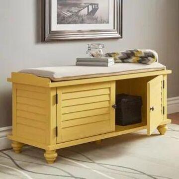 Maybelle Velvet Cushion Shutter Door Storage Bench by iNSPIRE Q Classic (Orange Yellow)
