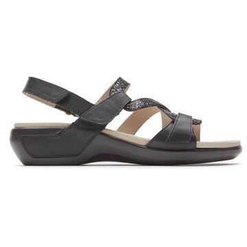 Aravon Womens Power Comfort S-Strap Sandal - Size 5 2E Black