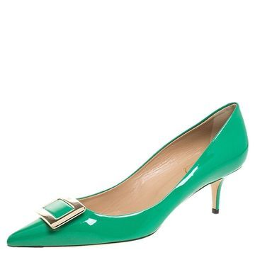 Roger Vivier Green Patent Leather Metal Logo Pointed Toe Pumps Size 38