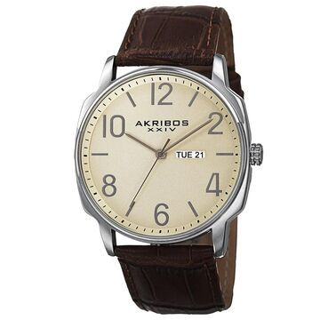 Akribos XXIV Men's Quartz Day/Date Display Leather Brown Strap Watch (Brown)