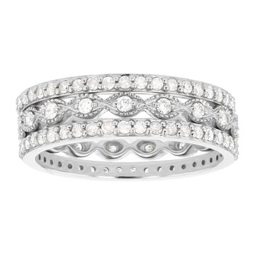 10K White Gold 9/10 ct. TDW Diamonds Women's Stacking Band Rings by Beverly Hills Charm