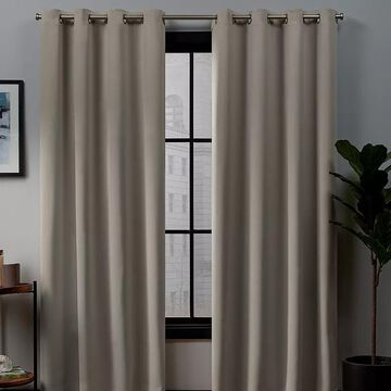 Exclusive Home 2-pack Academy Total Blackout Window Curtains, Beig/Green, 52X63