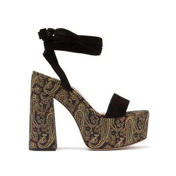 Gianvito Rossi - Ambra 85 Paisley-brocade Platform Sandals - Womens - Gold