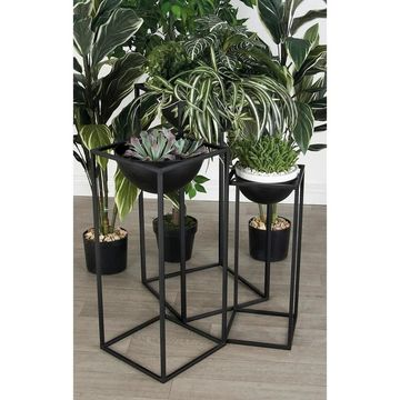 Set of 3 Modern Framed Black Bowl Plant Stands by Studio 350