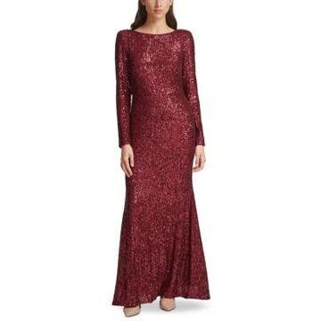 Eliza J Sequin V-Back Gown