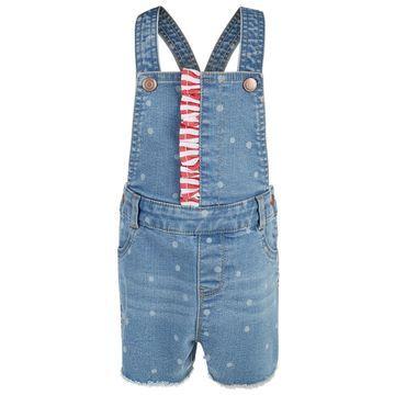 Baby Girls Ruffle Trim Denim Shortalls, Created for Macy's
