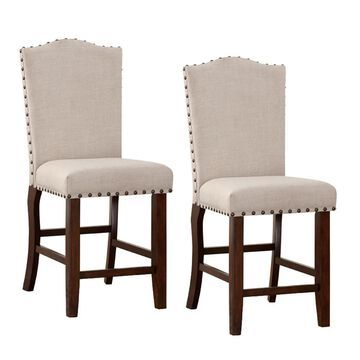 Benzara Set of 2 Modern Cream and Brown Accent Chair Rubber | BM166612