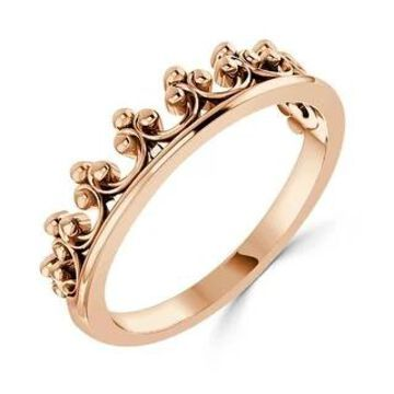 Auriya Stackable Tiara Crown Wedding Band 10K Gold (Rose - 5)