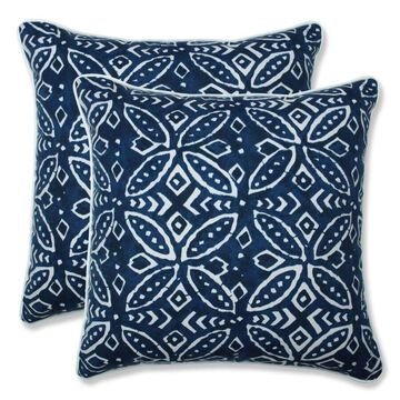 Pillow Perfect Merida Indigo 2-Piece 18.5-in W x 18.5-in L Indoor Decorative Pillow Polyester in Blue