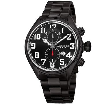 Akribos XXIV Men's Quartz Chronograph Stainless Steel Black Bracelet Watch (Black)