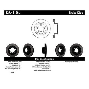 StopTech 127.44156L StopTech Sport Rotors; Drilled And Slotted; Front Left;