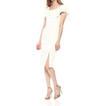 Bardot Womens Sheath Dress Ivory White Size 6 Front-Slit Flutter-Trim