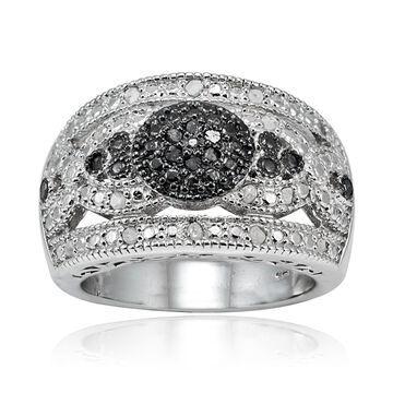 DB Designs Sterling Silver 1/4ct TDW Wide Dome Diamond Fashion Ring