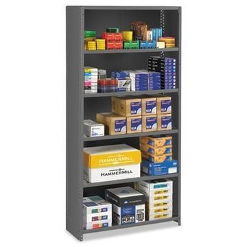 Tennsco Closed Commercial Steel Shelving, Six-Shelf, 36w x 12d x 75h, Medium Gray