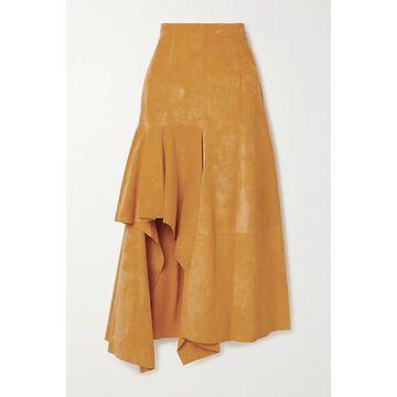 Alexander McQueen - Draped Suede Skirt - Mustard