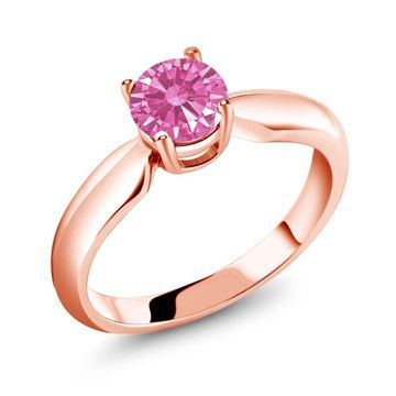 0.84 Ct Pink 925 Rose Gold Plated Silver Ring Made With Swarovski Zirconia
