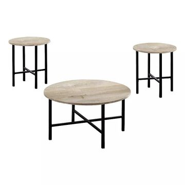 Monarch Round Coffee & End Table 3-piece Set, Beig/Green