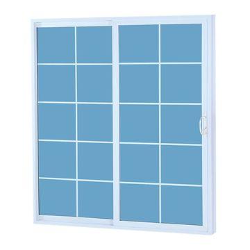 ReliaBilt Grilles Between The Glass White Vinyl Universal Reversible Double Door Sliding Patio Door (Common: 60-in x 80-in; Actual: 58.75-in x 79.5-in)