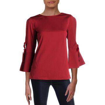 Lafayette 148 New York Womens Jeanne Blouse Bell Sleeves Sheer