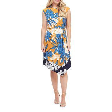 Twin-Print Floral Asymmetric Dress