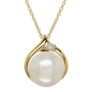 Certified Sofia Cultured Freshwater Pearl & Diamond-Accent 10K Gold Pendant Necklace