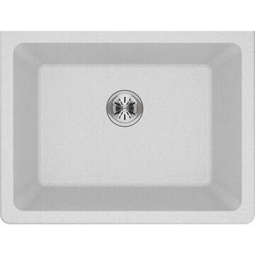 Elkay Quartz Classic Undermount 25-in x 18.5-in White Single Bowl Kitchen Sink   ELGU251912PDWH0