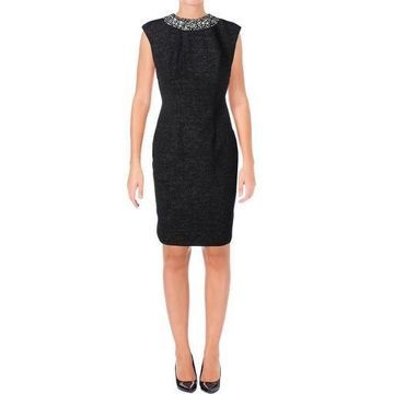 Eliza J Womens Embellished Extended Cap Sleeves Casual Dress