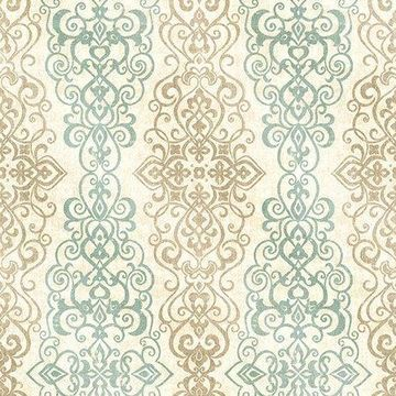 Kenneth James Mexuar Aqua Filigree Stripe Wallpaper