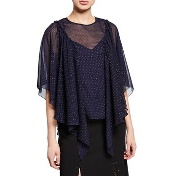 Sheer Polka Dot Cape-Sleeve Blouse